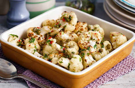 Roasted cauliflower with lemon, caper and chilli dressing