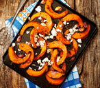 Roasted pumpkin wedges with feta and thyme