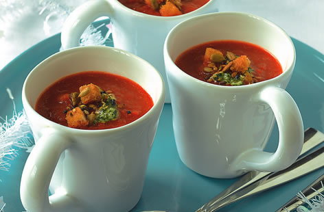 Roasted red pepper and chilli soup