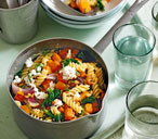 Roasted squash and goat's cheese fusilli