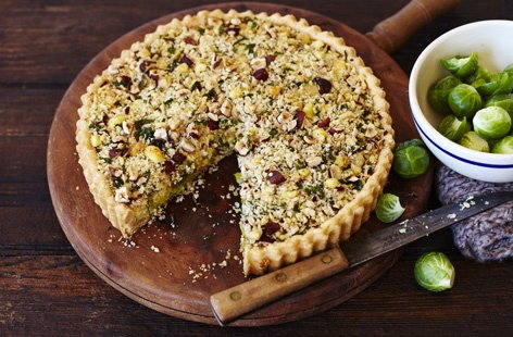 Shredded sprouts and Wensleydale crumble tart