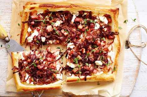 Ricotta, bacon and red onion tart