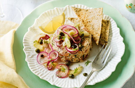 Salmon rilettes with cucumber relish