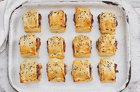 Cranberry and leek sausage rolls