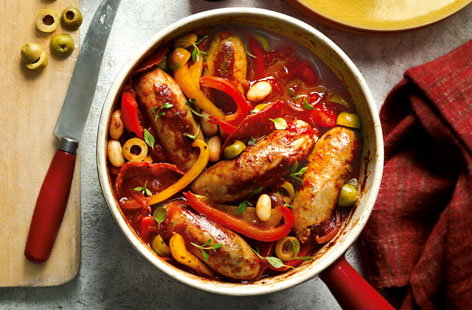 Sausage, salami and pepper stew