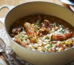 Pork, sausage, cider and mustard stew