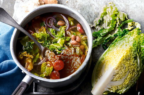 Savoy, chorizo and borlotti bean broth HERO