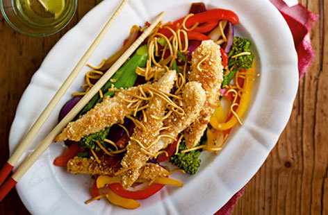Sesame chicken with tenderstem broccoli and crunchy noodles HERO