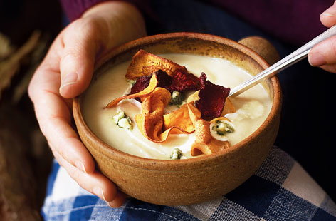 Silky parsnip and stilton soup