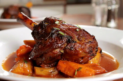 Slow cooked lamb shanks with roasted root vegetables
