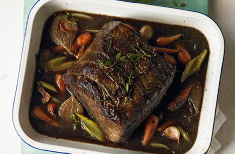 Slow cooked silverside braised with red wine