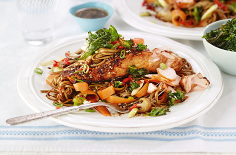 Soy and sesame salmon with noodles and crispy kale