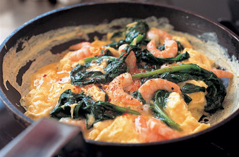 Spanish eggs with prawns HERO