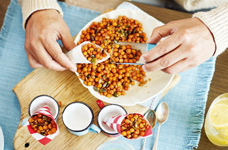 Spiced, honey-roast chickpeas and seeds
