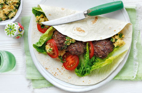 Spiced koftas with lemon and coriander houmous THUMB