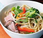 Spiced noodle broth with poached beef