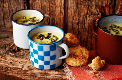 Spiced parsnip soup with coriander and chilli pesto