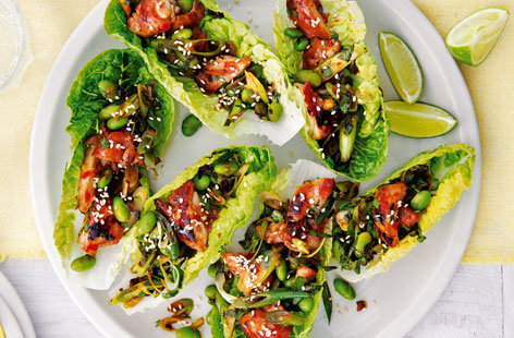 Spicy chicken and soya bean lettuce cups THUMB