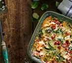Sprout gratin with mustard and crispy bacon