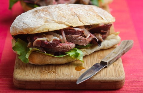 Steak and beetroot sandwich HERO