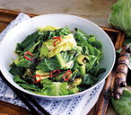 Greens with chilli and garlic chips