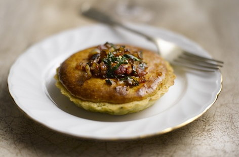 Sticky shallot and bacon tart