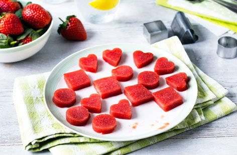 Strawberry gummy snacks