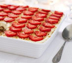 Tray tiramisu with strawberries