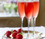 Strawberry, prosecco and elderflower cocktail