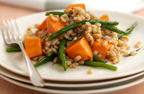 Sweet potato barley salad hero