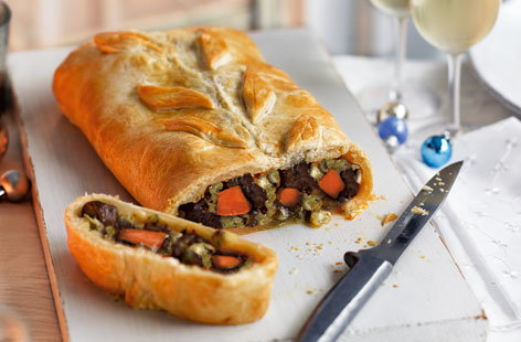 Sweet potato, chestnut and Stilton Wellington
