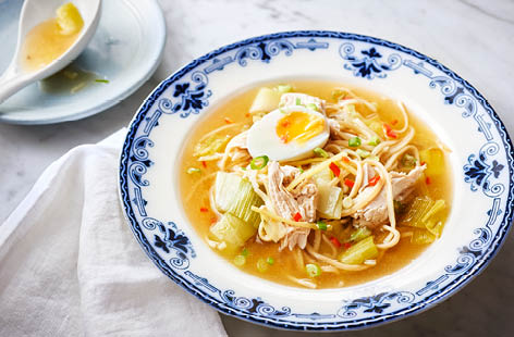 Chicken and leek noodle soup