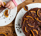 Shaun Rankin's chocolate orange pudding with orange crisps