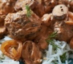 Beef meatball stroganoff with rice