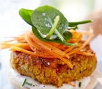 Grated carrot and chickpea burgers