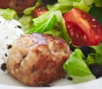 Herby pork meatballs with tzatziki