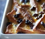 Brandy and raisin bread and butter pudding