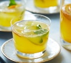 White sangria with citrus fruit and ginger