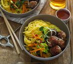 Taiwanese chilli meatballs with noodles