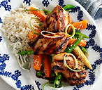 Teriyaki chicken with steamed sesame veg
