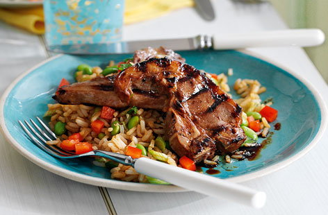 Teriyaki lamb with soya bean and pepper rice HERO