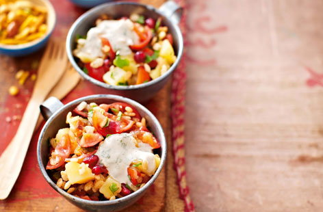 Bhel puri with tamarind yogurt