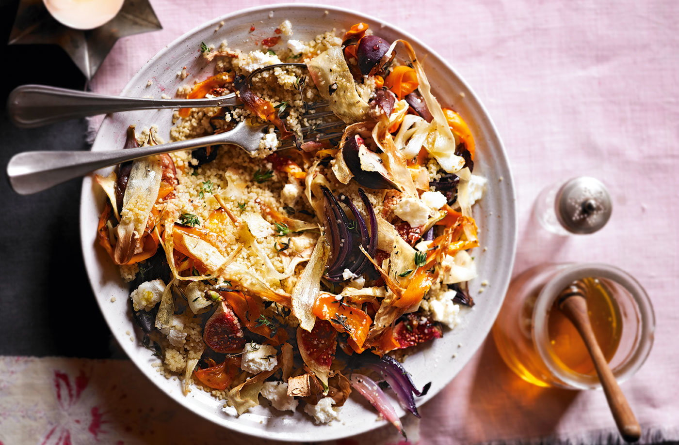 delicious salad, packed with root veg, roasted figs and goats' cheese ...