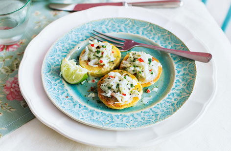Spring onion blinis with crab and chilli
