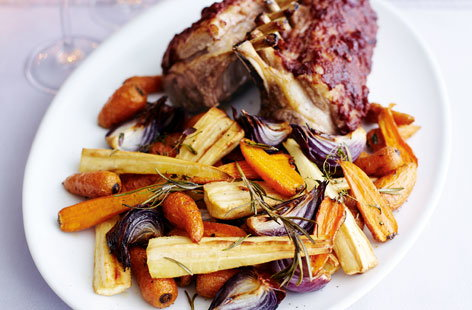 Roast rack of lamb and goose fat roasted vegetables