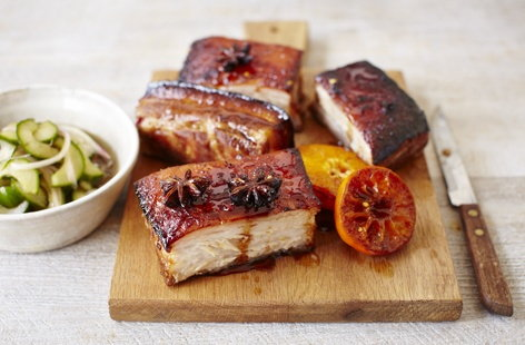 Roast pork belly with citrus and star anise