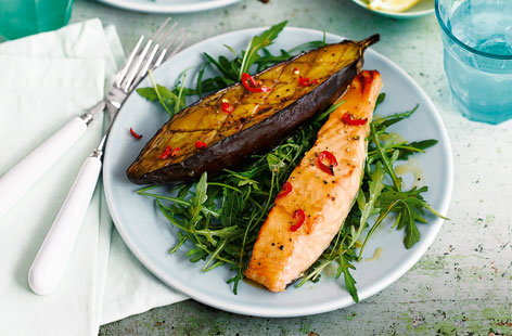 Miso salmon with aubergine and rocket