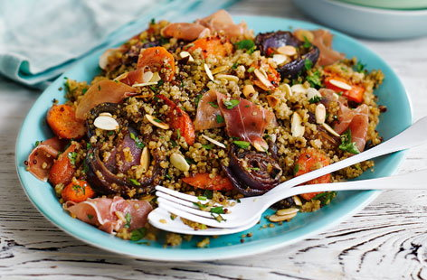 Roasted carrot quinoa with almonds and cured ham