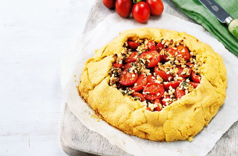 Free-form tomato and almond tart