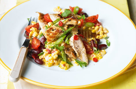 Toasted corn and chicken salad HERO